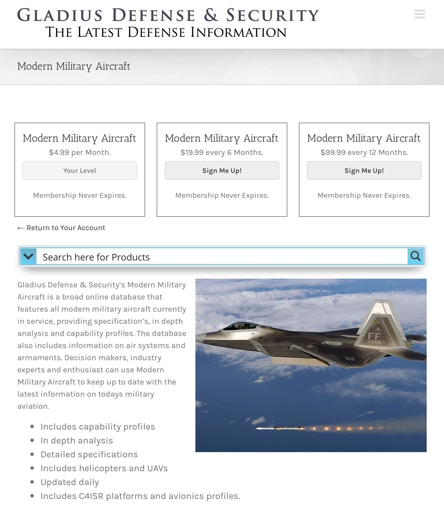 Modern Military Aircraft Database Overview – Gladius Defense